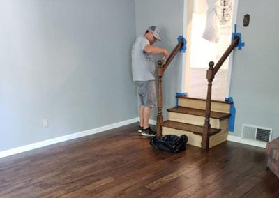 entryway wood floor & stair railing refinishing southern illinois